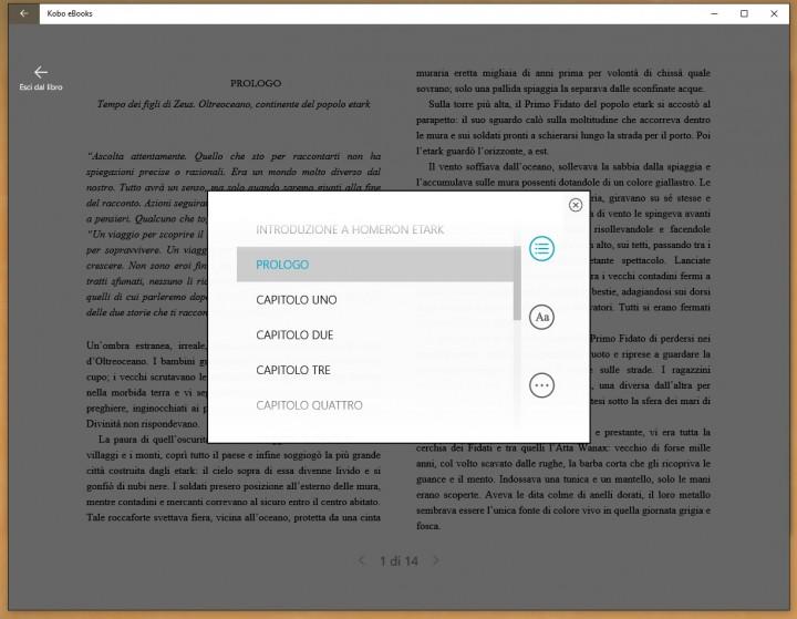 Kobo app, meglio di Kindle per Homeron Etark